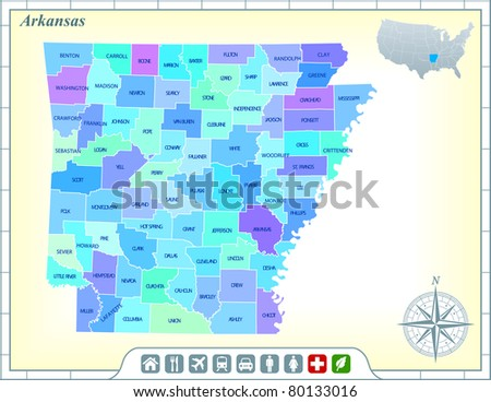Arkansas State Map with Community Assistance and Activates Icons Original Illustration - stock vector