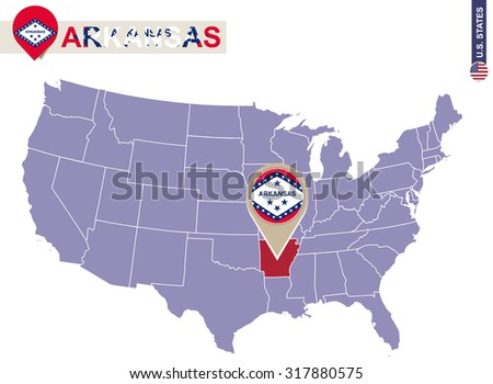 Arkansas State on USA Map. Arkansas flag and map. US States. - stock vector