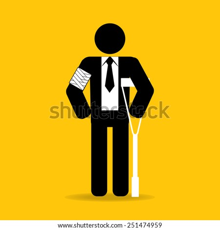 arm injured cartoon businessman in bandage with crutches : be careful prevent accidents : safety health concept on yellow background vector - stock vector