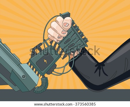 Arm wrestling with a robot. The struggle of man vs robot. - stock vector