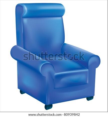 Armchair blue vector illustration - stock vector