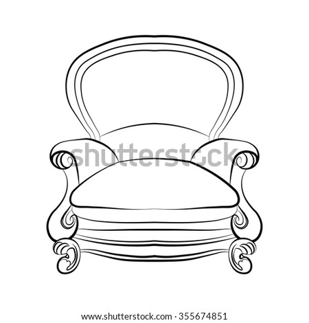 Armchair in classic style. Vector sketch - stock vector