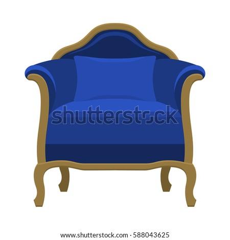 Comfort Vintage Blue Chair For Luxury Interior. Classic Retro Furniture