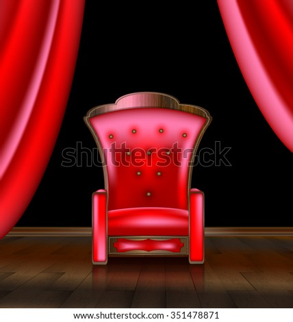 armchair in the red room - stock vector