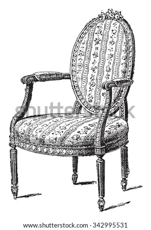Armchair upholstered in chintz, vintage engraved illustration. Industrial encyclopedia E.-O. Lami - 1875. - stock vector