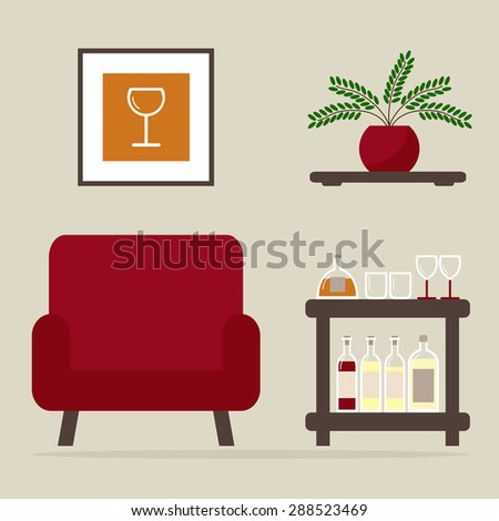 Armchair with home bar. Living room interior design. Modern furniture isolated icons: armchair, bar table, shelf. Wooden furniture on background. Flat style vector illustration. - stock vector