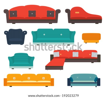 Armchairs and sofas flat style - stock vector