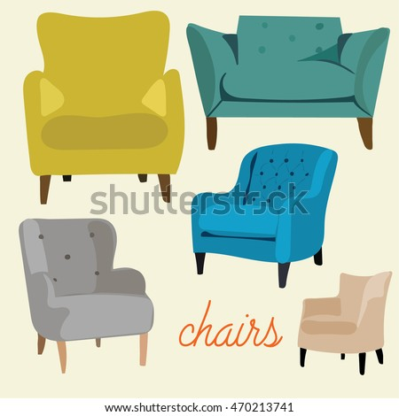 armchairs vector collection set card. mid century modern illustration. 1950 1960
