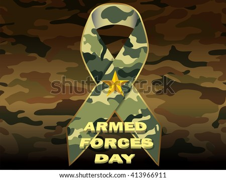 Armed forces day camouflage background, memorial ribbon and gold text message.Vector