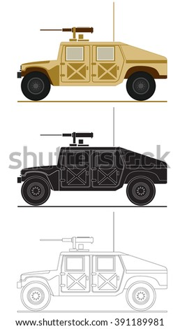 armed forces unit. army vehicle image for infographics. vector illustration 2