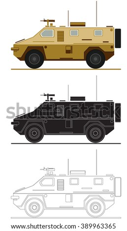 armed forces unit. combat vehicle image for infographics. vector illustration 2