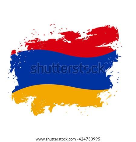Armenia flag Grunge style on gray background. Brush strokes and ink splatter. National symbol of Armenian state - stock vector