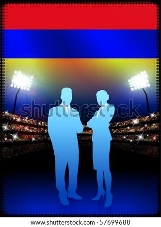 Armenia Flag with Business Couple on Stadium Background Original Illustration - stock vector