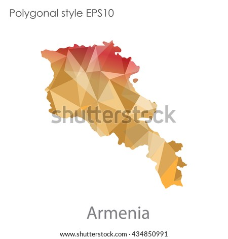 Armenia map in geometric polygonal style.Abstract gems triangle,modern design background.Vector illustration EPS10