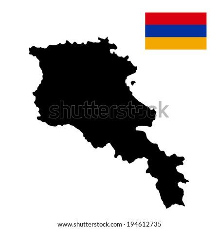 Armenia vector map isolated on white background. High detailed silhouette illustration. Armenia vector flag. - stock vector