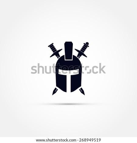 Armor helmet with two swords vector icon - stock vector
