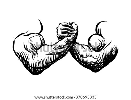 Armwrestling, fight, combat. Victory, sketch, figure image. - stock vector
