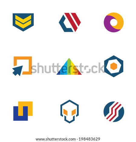 Army badge stripes game developer logo community computer icon set - stock vector