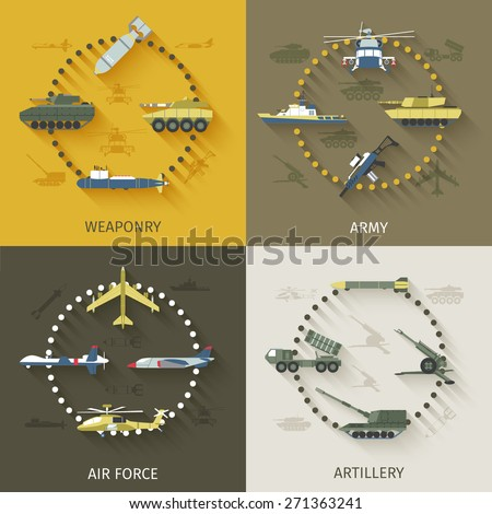 Army design concept set with weaponry air force artillery flat icons isolated vector illustration - stock vector