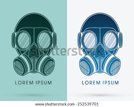 Army Gas Mask, design using black and blue color ,logo, symbol, icon, graphic, vector. - stock vector