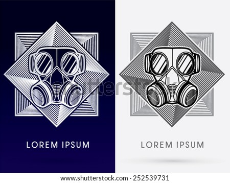 Army Gas Mask, design using red and black color on square background design from line geometric, logo, symbol, icon, graphic, vector. - stock vector
