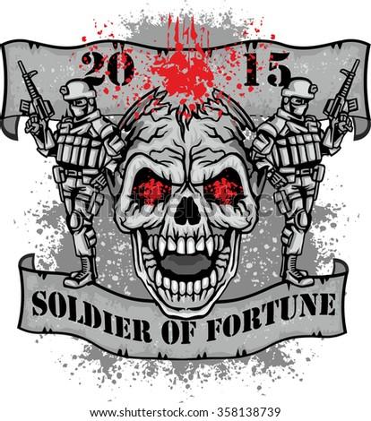 army grunge skull  - stock vector