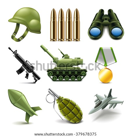 Army icons detailed photo realistic vector set - stock vector