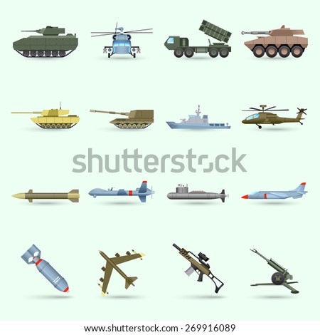 Army icons set with tank submarine military airplane isolated vector illustration - stock vector