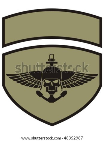 Army insignia with skull. - stock vector