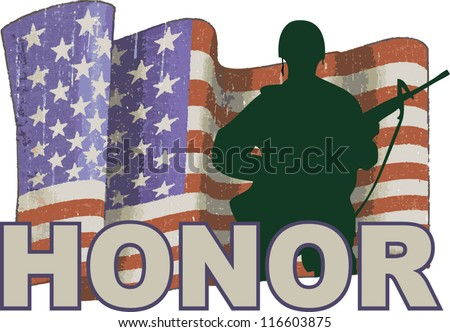 army man honor - stock vector