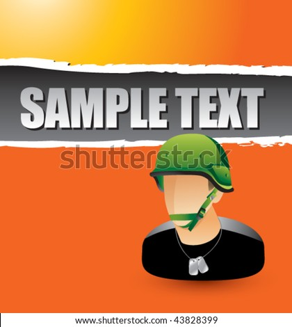 army man on orange ripped banner - stock vector