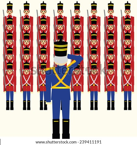 Army of wooden soldiers being saluted by their General/Wooden Soldiers Army - stock vector
