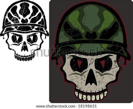 Army Skull - stock vector