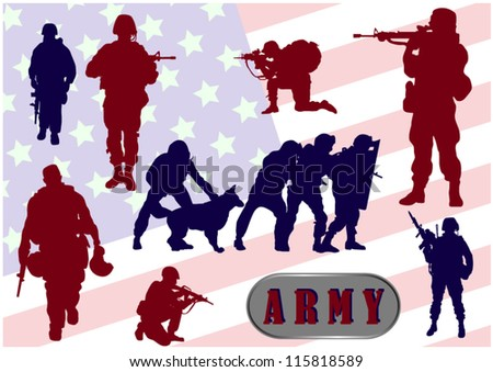 Army Soldier armed groups against the flag - stock vector