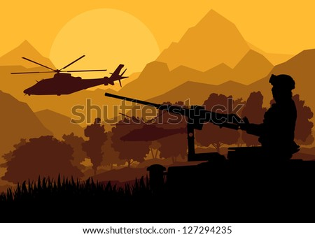 Army soldier with helicopters, guns and transportation in wild desert mountain nature landscape background illustration vector - stock vector