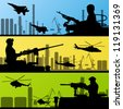 Army soldiers, planes, helicopters, guns and transportation in urban industrial factory landscape background illustration vector - stock photo