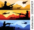 Army soldiers, planes, helicopters, guns and transportation in wild desert mountain nature landscape background illustration vector - stock photo