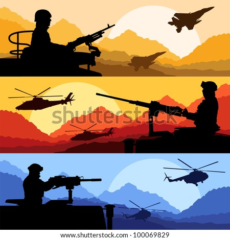 Army soldiers, planes, helicopters, guns and transportation in wild desert mountain nature landscape background illustration vector - stock vector