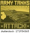 army tanks attack poster - stock photo