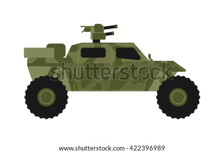 Army vector car and military transport. Army military auto world truck machine and old wheel auto military vehicle. Camouflage american military vehicle machine with gun road combat force. - stock vector