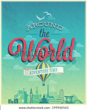 Around the world poster. Vector illustration. - stock vector