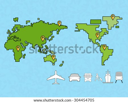 Around the world travelling by plane, Flat icon modern design style vector illustration concept. - stock vector