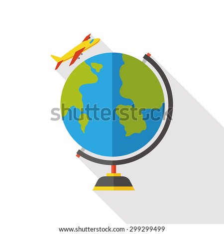 Around the world travelling by plane flat icon with long shadow