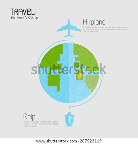 Around the world travelling by plane vs ship infographics, Flat icon modern design style vector illustration concept. - stock vector