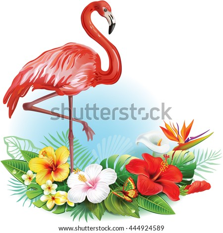 Arrangement from tropical flowers and Flamingo - stock vector