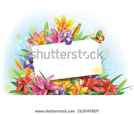 Arrangement of flowers with empty greeting card for text - stock vector