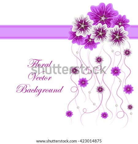 Arrangement of mallow flowers and ribbons with pearls  for greeting card or invitation design. Floral vector background. - stock vector