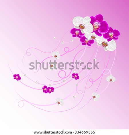 Arrangement of orchid flowers and pearls on pink background for greeting card or invitation design.