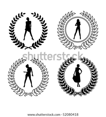 Arrangement with four wreaths and feminine silhouette. They are located on a white background. - stock vector