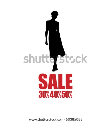 Arrangement with the female silhouette. A woman wearing a dress. Below is the inscription SALE. - stock vector